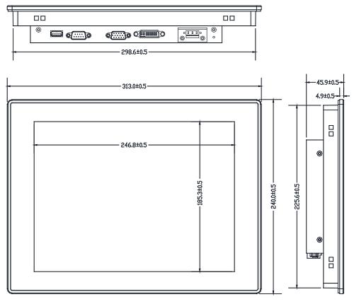 """fpm-3121, 12.1"""" промышленный монитор, габаритные размеры, разистивный сенсорный экран"""