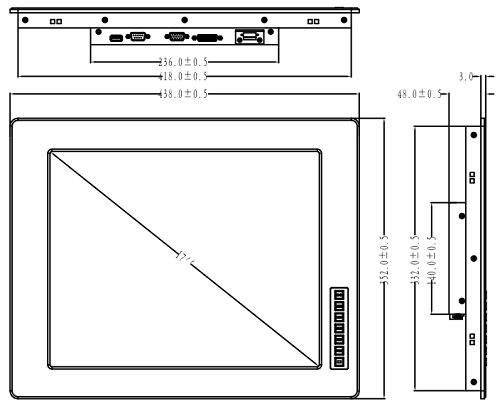fpm-6170 габариты, промышленный монитор, Luchengtech